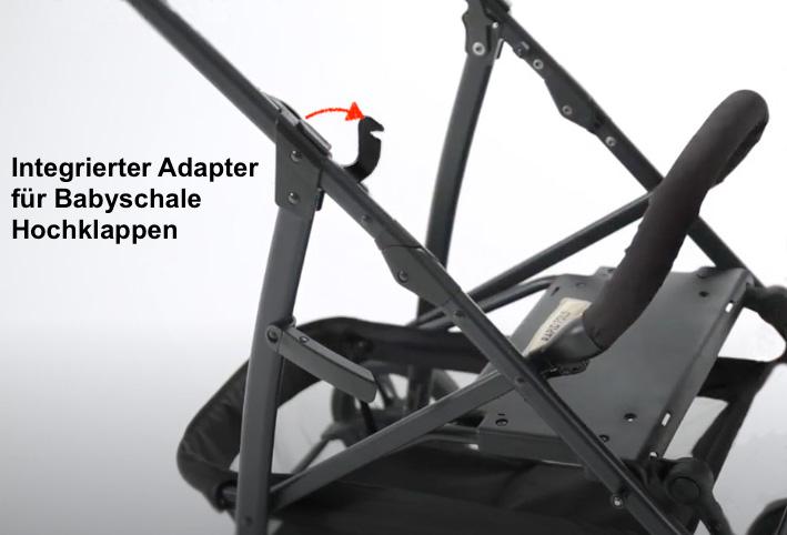 Am Gestell des Hauck Rapid 4 Plus ist ein integrierter Adapter für die Babyschale